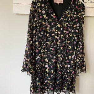 Philosophy black floral boho dress medium